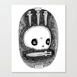 Four of Knives Skeleton Tarot Canvas Print