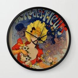 Bagn Res De Luchon F Tes Des Fleurs 1890 By Jules Cheret | Reproduction Art Nouveau Wall Clock