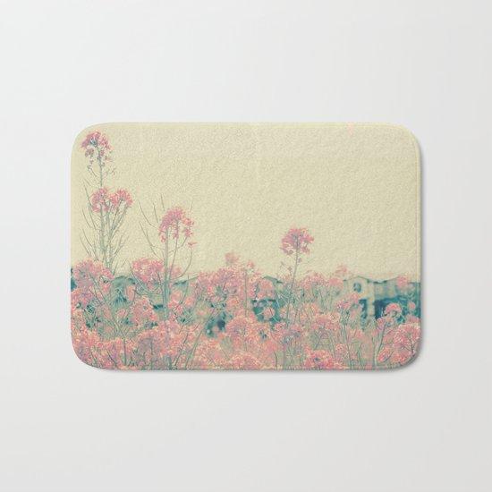 Vintage Spring Soft Pink Wildflowers Bath Mat