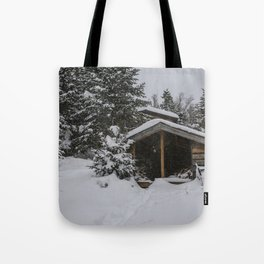 Winter at Lonesome Lake Hut Tote Bag