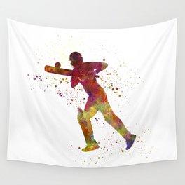 Cricket player batsman silhouette 06 Wall Tapestry