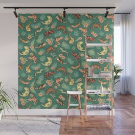 Gecko family in green Wall Mural