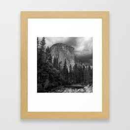 Yosemite National Park, El Capitan, Black and White Photography, Outdoors, Landscape, National Parks Framed Art Print