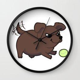 Playful Chocolate lab Wall Clock