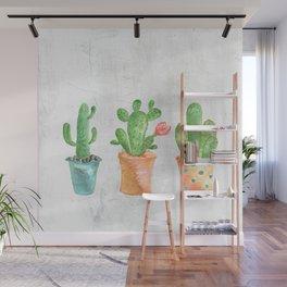 Three Green Cacti Watercolor White Wall Mural