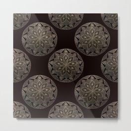 Maroon Mandala Pattern Metal Print