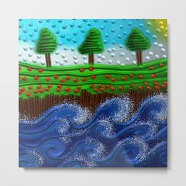 Beaded landscape Textured abstract with sea waves in the foreground and trees Metal Print