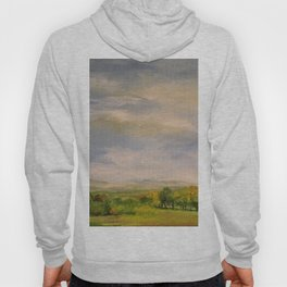 Scenic Autumn Late Afternoon in Vermont Nature Art Landscape Oil Painting Hoody