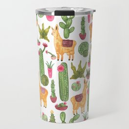 watercolor alpaca clique with cacti and succulents Travel Mug