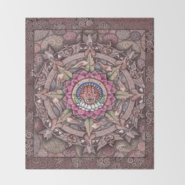 Hamsa Mandala by Julie Oakes Throw Blanket