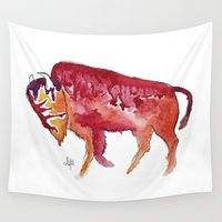 bison Wall Tapestries featuring Bison by Armyhu