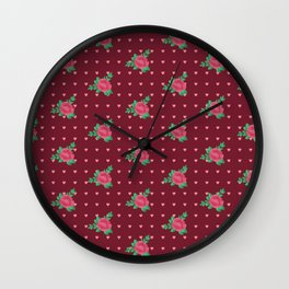 Lovely Pink Rose pattern (berry red) Wall Clock