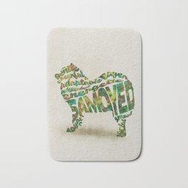 Samoyed Dog Typography Art / Watercolor Painting Bath Mat