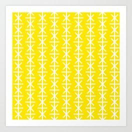 Geometric Pattern 168 (yellow stars) Art Print