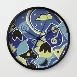 Landscape Abstract Night Wall Clock