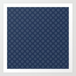 Hand painted navy blue Christmas snow flakes motif Art Print