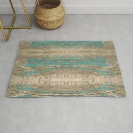 Rustic Wood - Beautiful Weathered Wooden Plank - knotty wood weathered turquoise paint Rug