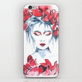 Watercolor flower girl 3 iPhone Skin