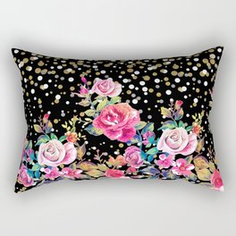 Modern watercolor spring floral and gold dots pattern Rectangular Pillow