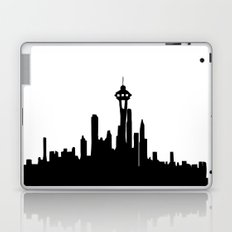 Seattle City Skyline in Black and white Laptop & iPad Skin