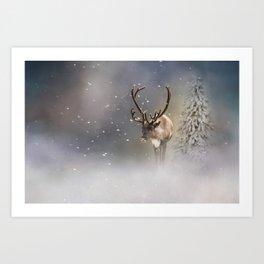 Santa Claus Reindeer in the snow Art Print
