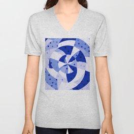 Polka Dots Blue Geometric Design Unisex V-Neck