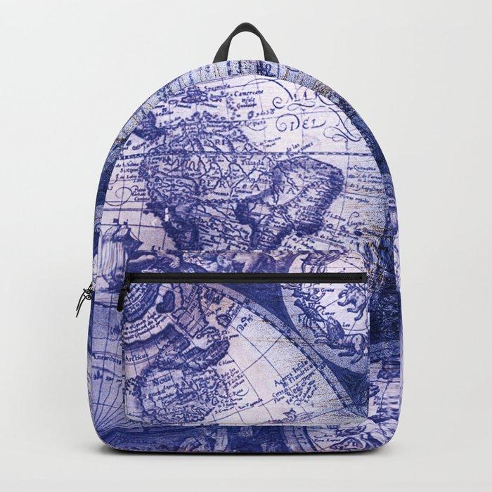 World Map Antique Vintage Navy Blue Backpack