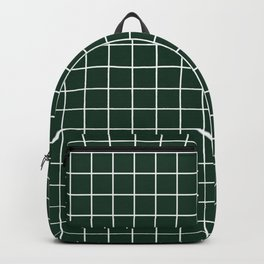 Phthalo green - green color - White Lines Grid Pattern Backpack