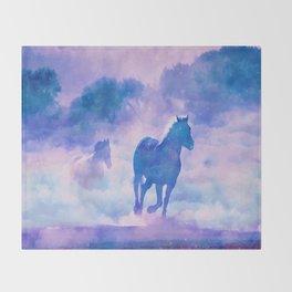 Horses run Throw Blanket
