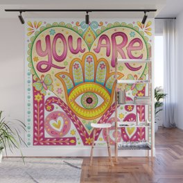 You are loved - Hamsa heart art by Thaneeya McArdle Wall Mural