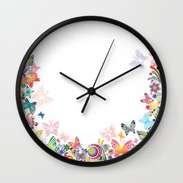 Floral frame with butterflies Wall Clock