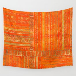 Tribal Ethnic pattern gold on bright orange Wall Tapestry