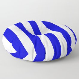 Medium blue - solid color - white vertical lines pattern Floor Pillow