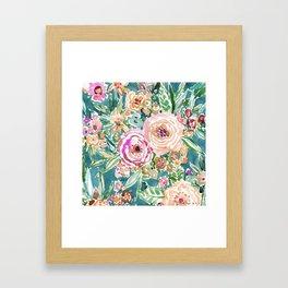 Teal MAUI MINDSET Colorful Tropical Floral Framed Art Print