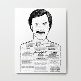 Anchorman's Ron Burgundy - 'Scotchy, Scotch, Scotch' Metal Print