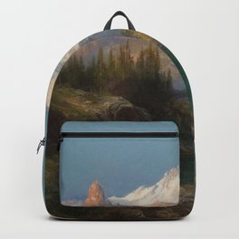 Snow-capped Rocky Mountains landscape painting by Thomas Moran Backpack