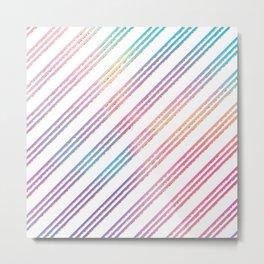 Abstract pink teal purple gradient stripes pattern Metal Print