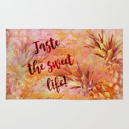Pineapple Sweet Life Summer Quote Rug