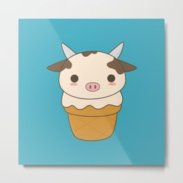 Kawaii Cute Cow Ice Cream Cone Metal Print