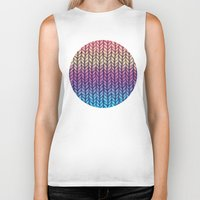 knit Biker Tanks featuring Rainbow Gradient Chunky Knit Pattern by micklyn