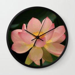 Peaceful Zen Garden Pink Lotus Floral Wall Clock