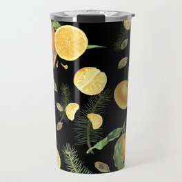 Tangerines and spices on black background Travel Mug