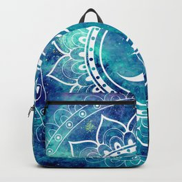 Galaxy Om Mandala Aqua Midnight Blue Backpack