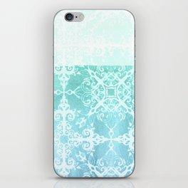 Mermaid's Lace - White Patterned Aqua / Mint Watercolor Wash iPhone Skin