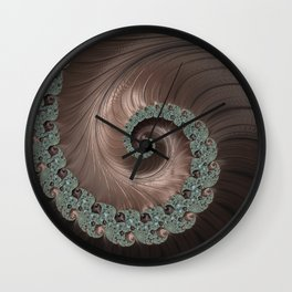 Copper, Bronze and blue steely fractal swirl abstract Wall Clock