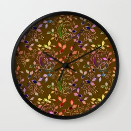 Vintage multicolored pattern of leaves on a mustard background Wall Clock