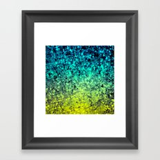 OMBRE LOVE Bold Beautiful Starry Night Glitter Abstract Painting Midnight Blue Mint Turquoise Yellow Framed Art Print