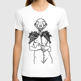 Crazy cat lady skeleton winged surreal figure T-shirt