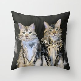 Marble Meows Throw Pillow