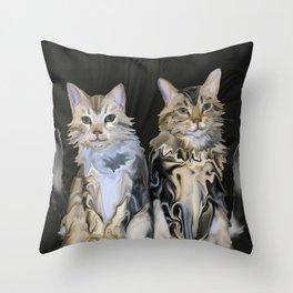Marble Meows Throw Pillow